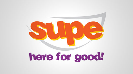 Logo of Supe. Slogan: Soup from Supe, Here for Good!
