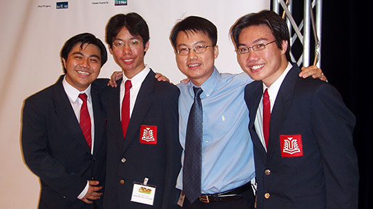 Photograph of the project team of the J3 Roving Eye. From left to right: Toh Teng Hui, Ng Wee Hua, Lee Leong and Yeo Chai Heng.